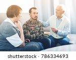 elderly grandfather talking...   Shutterstock . vector #786334693