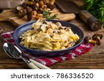 tagliatelle pasta with forest... | Shutterstock . vector #786336520