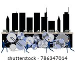 urban structure and gear clip... | Shutterstock .eps vector #786347014