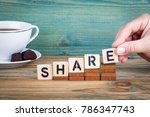 share. wooden letters on the... | Shutterstock . vector #786347743