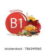 vitamin b1  thiamine . food...   Shutterstock .eps vector #786349060