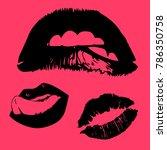 vector icons of female lips... | Shutterstock .eps vector #786350758