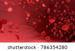 red blood cell in blood vessel...   Shutterstock . vector #786354280
