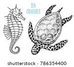 sea creature cheloniidae or... | Shutterstock .eps vector #786354400