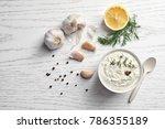 tasty sauce with garlic in bowl ... | Shutterstock . vector #786355189