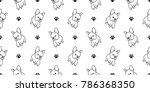 dog paw seamless pattern french ... | Shutterstock .eps vector #786368350