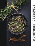 dried organic tea herbs  on top ...   Shutterstock . vector #786369826