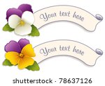 vector - Labels with Johnny Jump Ups (Pansies). Two vintage tags in Gold, Lavender and Cream. Copy space to customize with your text. EPS8 organized in groups for easy editing.