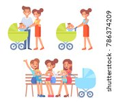 motherhood vector set. family... | Shutterstock .eps vector #786374209