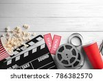 tasty popcorn  movie reel ... | Shutterstock . vector #786382570