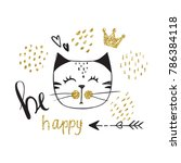 vector card with cute fashion...   Shutterstock . vector #786384118