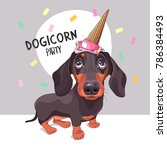 Stock vector dachshund dog in a ice cream party cap vector illustration 786384493