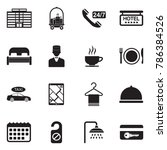 hotel icons. black flat design. ... | Shutterstock .eps vector #786384526