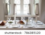 a table at a jewish home set... | Shutterstock . vector #786385120