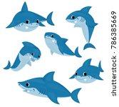 Set Of Blue Shark Cartoon.
