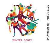 color sport background. winter... | Shutterstock .eps vector #786391129