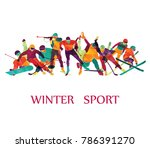 color sport background. winter... | Shutterstock .eps vector #786391270