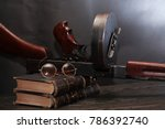 old usa submachine gun closeup... | Shutterstock . vector #786392740