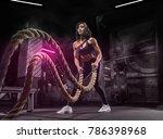 a girl is doing exercises using ...   Shutterstock . vector #786398968