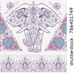 pattern with mandala and... | Shutterstock .eps vector #786401749