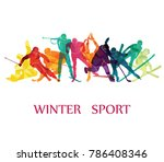 color sport background. winter... | Shutterstock .eps vector #786408346