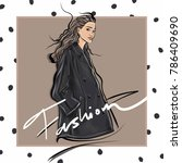 fashion sketch girl wearing... | Shutterstock .eps vector #786409690