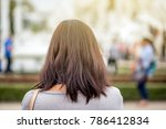 the woman in hair dye color is... | Shutterstock . vector #786412834