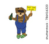 cartoon character of funky dog... | Shutterstock .eps vector #786416320