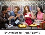 happy friends greeting in new... | Shutterstock . vector #786418948