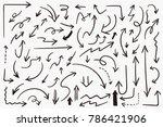 Grunge Sketch Handmade Doodle Vector Arrow Set