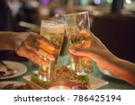 young people toasting beer... | Shutterstock . vector #786425194