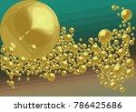 golden balls on green and beige ... | Shutterstock .eps vector #786425686