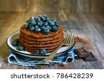 homemade chocolate pancakes... | Shutterstock . vector #786428239