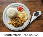 top view rice with chicken...   Shutterstock . vector #786428764