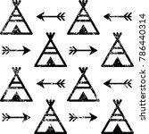 teepee and arrows seamless... | Shutterstock .eps vector #786440314