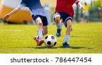 young soccer players... | Shutterstock . vector #786447454