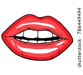 open female mouth with red lips.... | Shutterstock .eps vector #786449494