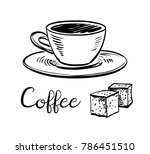 cup of coffee and sugar cubes.... | Shutterstock .eps vector #786451510