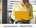 young woman using laptop... | Shutterstock . vector #786451954