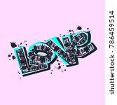 love you postcard  hand craft... | Shutterstock .eps vector #786459514