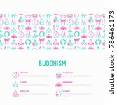 buddhism concept with thin line ... | Shutterstock .eps vector #786461173
