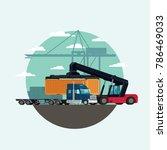 cargo logistics truck and... | Shutterstock .eps vector #786469033