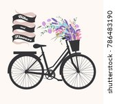 bicycle with flowers | Shutterstock .eps vector #786483190