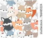 Stock vector vintage seamless pattern cute dog or foxy fox wolf blue grey paste cartoon for background vector 786485224