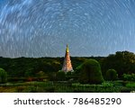 star trails movement at night... | Shutterstock . vector #786485290