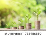 money coins steps and tree... | Shutterstock . vector #786486850