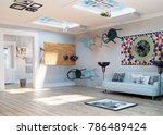 strange  upside down room... | Shutterstock . vector #786489424