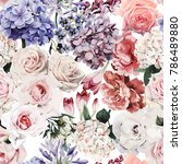 seamless floral pattern with... | Shutterstock .eps vector #786489880