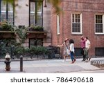 group of friends walking along... | Shutterstock . vector #786490618