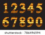 set of gold numbers.vector... | Shutterstock .eps vector #786496594